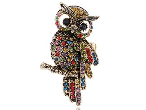 Alilang Womens Stretchy Antique Golden Tone Multicolored Rhinestones Rainbow Owl Bird Ring -