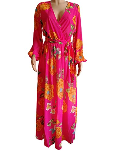 Printed Size Chiffon Floor Belt Womens Boho Chiffon Maxi with Dress Dora's Floral Plus High Waisted rose ABt1Ow5xq5