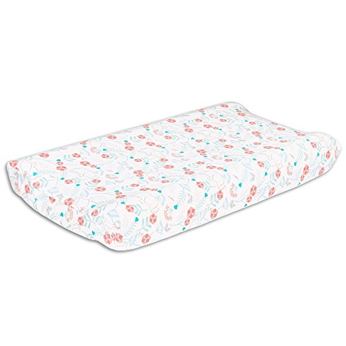 Safari Love Elephant Garden Baby Girl Changing Pad Cover by The Peanut Shell by The Peanut Shell