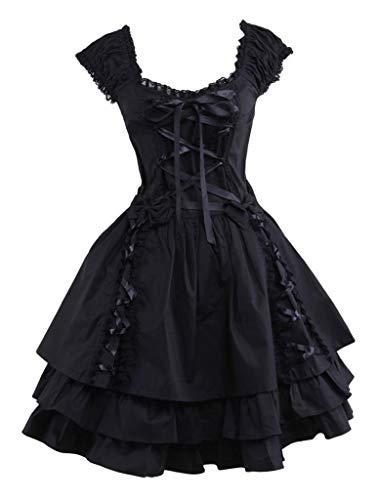 Ainclu Womens Classic Black Layered Lace-up Cotton Lolita Dress