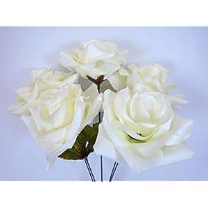 """Phoenix Silk 2 Bushes Open Rose 5 Artificial Silk Flowers 14"""" Bouquet 1171 CREAM 50"""