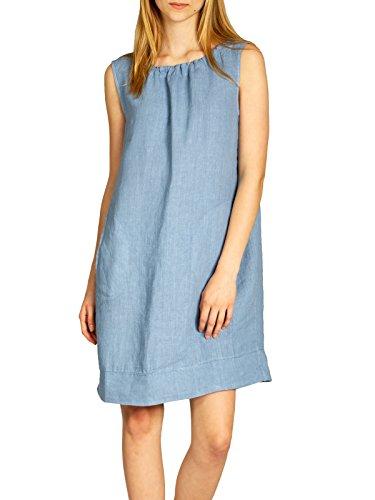 CASPAR Blu SKL017 Vestito di Jeans Estivo Lino Donna RURqA7g