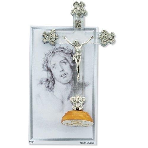 White Standing Fancy Crucifix Made in the USA
