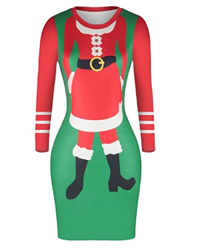 Bodycon Autumn Party Christmas Coolred Women's Dress Digital Picture As Winter Print Ax6aIwqXn
