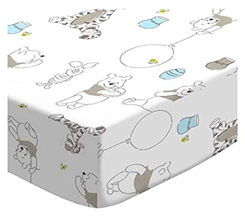 SheetWorld Fitted Portable / Mini Crib Sheet - Pooh & Friends White - Made In USA