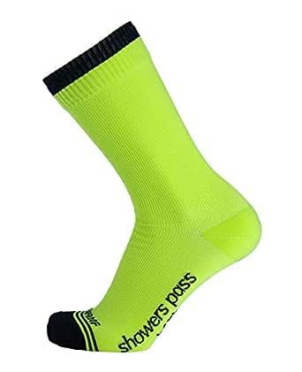 Showers Pass Waterproof Breathable High Visibility Multisport Unisex Crew Socks (Neon Yellow - Small/Medium)