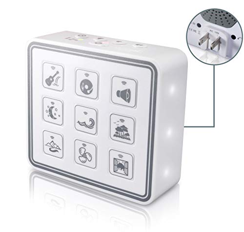 Portable & Compact Plug-In Nightlight White Noise Sound Machine-Relaxing Sleep Therapy for Adults & Baby w/9 Natural Sound Settings, Auto Timer, Headphone Jack & USB Cord - For Home & Travel (white)
