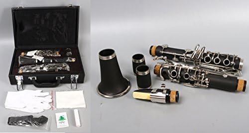 Yinfente - Clarinete profesional de madera de ébano B Flat C Key 2 barriles con estuche de tela: Amazon.es: Instrumentos musicales