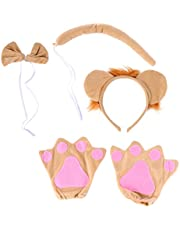 Lurrose 4pcs Lion Costume Set Plush Animal Ears Headband Tail Gloves Bow Tie Accessories Set Animal Cosplay Supply for Halloween Fancy Party
