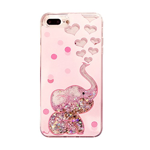 newest collection 76b74 3fb2b Crystal Liquid Flowing Glitter Pink Hearts Case for Apple iPhone 7Plus  8Plus 7+ 8+ Large Size 5.5