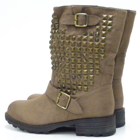 Schuh-City Damen Schuhe Stiefeletten robuste Kunst Fell Nieten Stiefel Grün