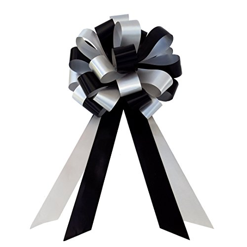 black-silver-wedding-pull-bows-with-tails-for-church-pews-and-chairs-8-wide-set-of-6