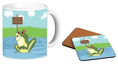Rikki Knight Prince Charming Frog Design Photo Quality 11 oz Ceramic Coffee Mug + Matching Square Cork Backed Coaster ()