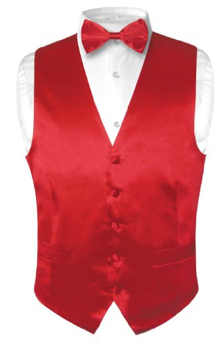 Biagio Men's SILK Dress Vest & Bow Tie Solid ROSE RED Color BowTie Set sz L (Rose Tuxedo Vest)