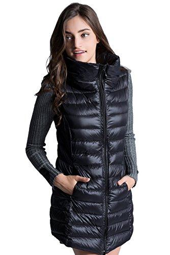 ELFJOY Women's Mid Long Down Vest Lightweight Puffer Vest Coat Jacket Stylish Windbreaker Black Medium