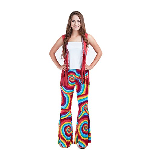 Charm Rainbow Womens 70s Costume Hippie Pants Stretchy Tie Dye Bell Bottom(XL)