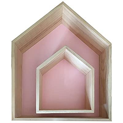 "Da Jia 2PCS Wooden House-shaped Wall Storage Shelf Kid's Room Decoration(Pink) - Set of 2 wood wall shelves: small:20*17*8cm(7.87""*6.69""*3.14"") , large: 35*30*8(13.77""*11.81""*3.14""). Each wood shelf comes with hardware for easy mounting. Group them together or utilize them separately as floating shelves. Add warmth and rustic charm to child room with these rustic wooden shelves made of pine wood. - wall-shelves, living-room-furniture, living-room - 41abmcvtv%2BL. SS400  -"