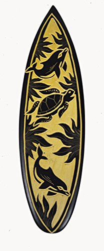 Carved Tiki Surfboard - Dolphin Turtle Carved Out Wood Beach Time Tiki Bar Sign Surfboard Surf Board