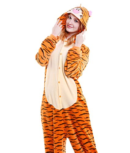 LadyKing Women's Tiger Onesie Unisex Animal Sleeping Wear Pajamas Costume (Girls Tiger Onesie)