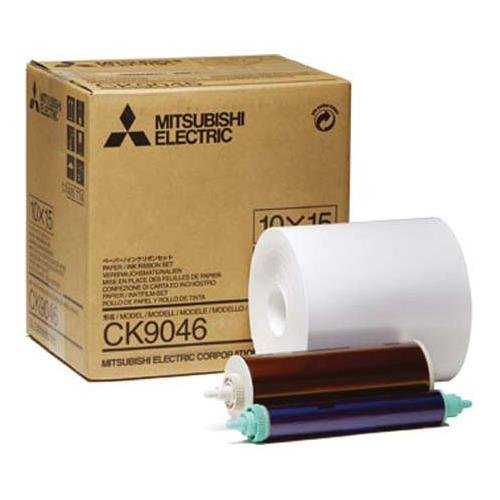 """Mitsubishi Electric 6"""" Wide Paper Roll & Inksheet for 600 Photos, Size: 10x15 (4x6""""), for some CP Series Dye Sublimation Thermal Printers, Model CK9046"""