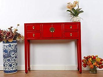 Yajutang Chinesische Kommode Tisch Sideboard Massivholz China Rot
