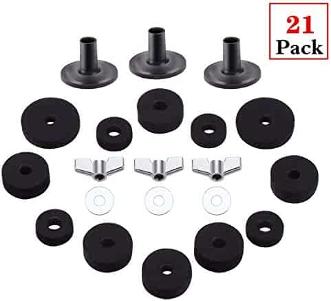 Drum Set Clutch Felt Wing Nuts washer Cup Gray Flexzion 18 Pieces Cymbal Felt Pads Washers Cymbal Stand Sleeve Hi Hat Drum Accessories Parts Replacement Hardware Pack Base Stand Cymbal Stacker