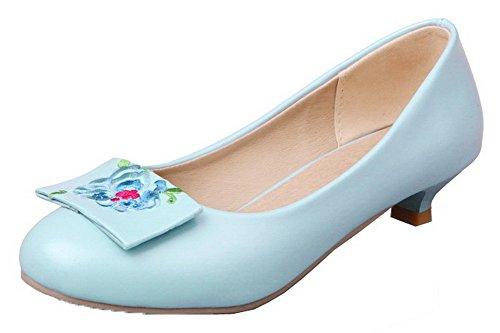 Allhqfashion Para Mujer De Punta Redonda Con Tacones Bajos Pu Zapatos Bordados-bombas Acidblue