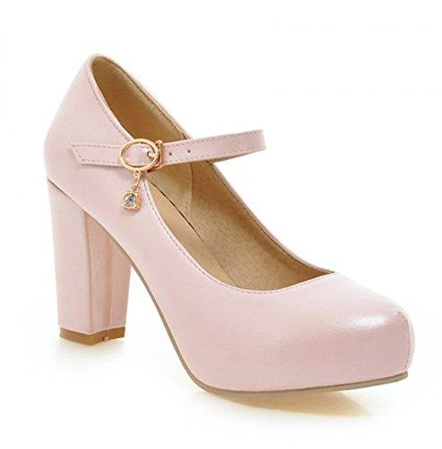 Summerwhisper Women's Sweet Round Toe Hidden Platform Pumps Ankle Strap Chunky High Heel Shoes Pink 8 B(M) US