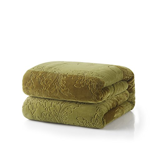 Tache Green and White Soft Evergreen Micro Fleece Throw Blan