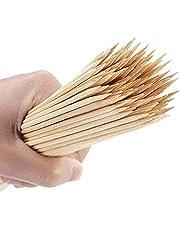 ZUHANGMENG 100 Piezas de Palos de Barbacoa, Palos de Pinchos de Madera de bambú, Pinchos de Barbacoa Desechables para Fondue de Parrilla