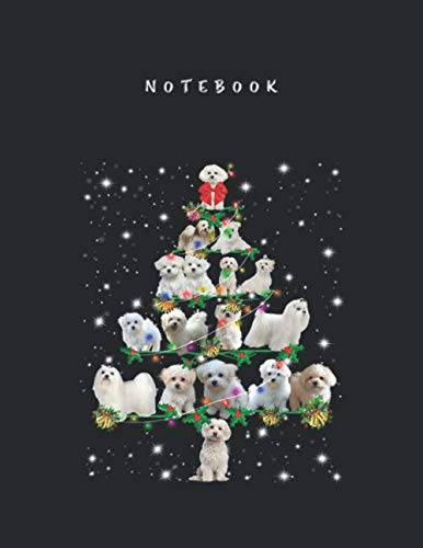 Notebook: Funny Maltese Dog Christmasree Costume Ornament Decor College Ruled Lined Notebook with Marble Size for Student Men and Women to Write and Take Note Large Size 8.5x11 inch