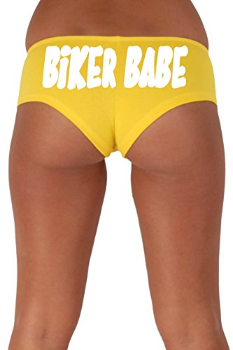 Women's Juniors White Biker Babe Booty Shorts Made in the USA : YELLOW -