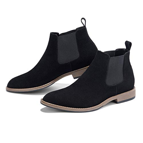 - GM GOLAIMAN Men's Chelsea Boots Slip On - Suede Boot Fashion Office Prom Wedding Gifts Botas Invierno Hombre(4 Black-9.5 D (M) US)