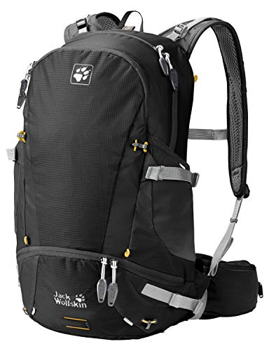 Jack Wolfskin Moab Jam 30L Versatile Dual Chamber Biking Backpack with Rain Cover, Black