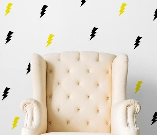 Lightning Bolt Flash Pattern (Set of 36) Wall Sticker - Grape Purple