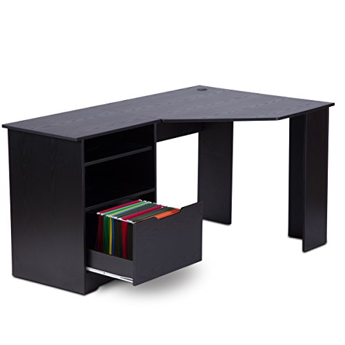 DEVAISE Corner Computer Desk With Bookshelves And File