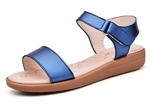 De Bon Augure Début Boho Femmes Flatform Peep Toe Bleu Sandales En Cuir
