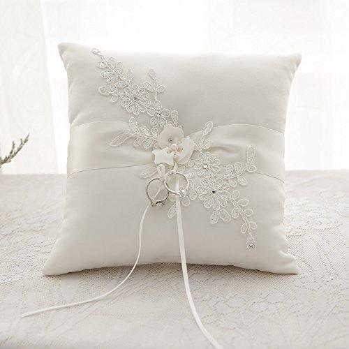 Awtlife Flower Wedding Ring Pillow Ivory Cushion Bearer For Beach wedding 8.26 (Ivory Satin Ring Pillow)