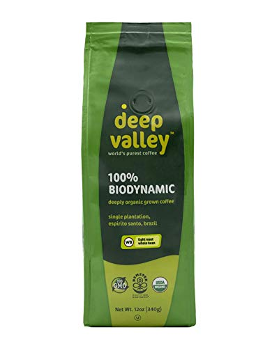 Deep Valley, Coffee Light Roast Whole Bean Organic, 12 Ounce