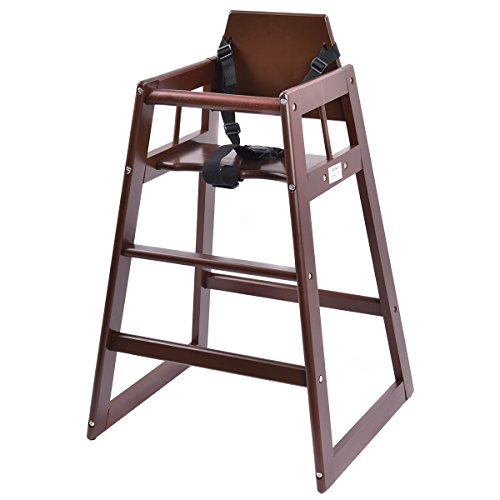 Costzon Wooden High Chair, Infant Feeding Chair with Safety Harness, Commercial Natural Wood High Chair for Babies and Toddlers (Brown) from Costzon