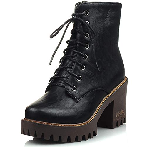 DoraTasia Women's Chunky Heel Lace-up Ankle Boots Martin Boots Non-Slip Mid Waterproof Short Boots Vintage Style Black