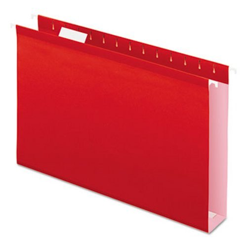 Reinforced 2'' Extra Capacity Hanging Folders, Legal, Red, 25/Box, Sold as 1 Box