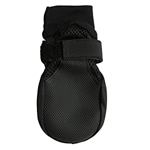 Hiado Breathable Dog Shoes Boots Mesh with Velcro and Anti Slip Rubber Sole for Hardwood Floors to Prevent Scratching Sliding Black, XL