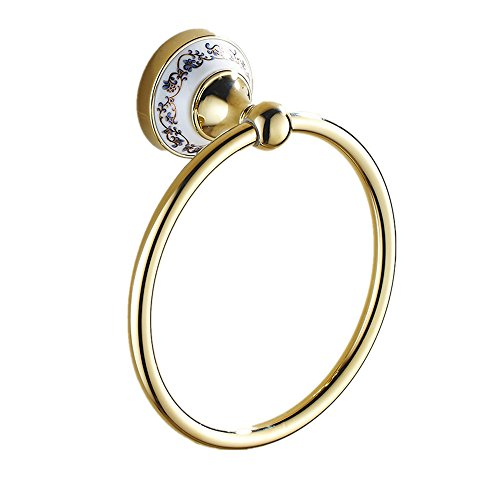 Keybath Towel Ring Hand Hanger Wall Mount Brass Polished Gold Plated with White Porcelain for Bathroom ()