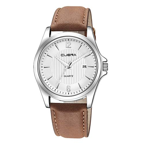 XBKPLO Mens Quartz Watch,Numeral Business Calendar Date Window Fashion Concise Analog Wrist Stripe Watches PU Leather