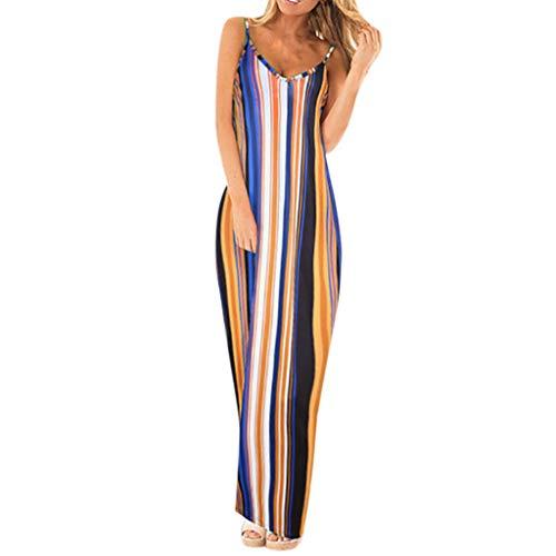 - Women's Stripe Spaghetti Strap Dress,EDTO Elegant Sleeveless Casual Long Dress