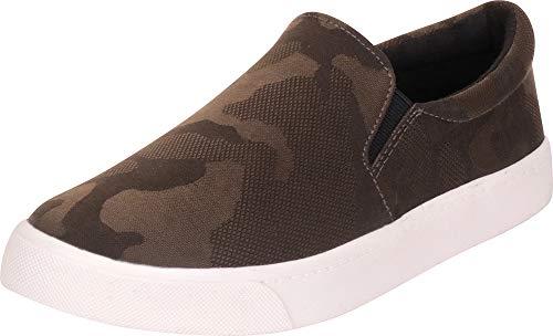 Cambridge Select Women's Classic Round Toe Stretch Slip-On Flatform Fashion Sneaker,8.5 M US,Dark Khaki Camouflage ()
