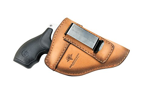 The Defender Leather IWB Holster - Fits Most J Frame Revolvers Incl. Ruger LCR, S&W 442/642, Taurus, Charter & Most .38 Special Revolvers - Made in USA - Charred Oak - Right Handed