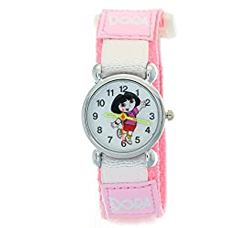 Dora the Explorer Pink Nylon Velcro Analog Quartz Novelty Students Kids Children Girls Cartoon Watch