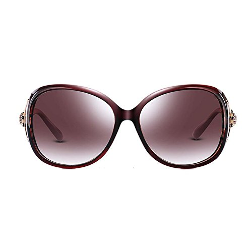 Protección Perlas Oscuro WYYY Color Espejo gafas Anti 100 Solar Clásico Decoración de Redondo Marrón Protección Marco Polarizada UV Retro Luz Sra sol UVA De Gris w6vgCqw